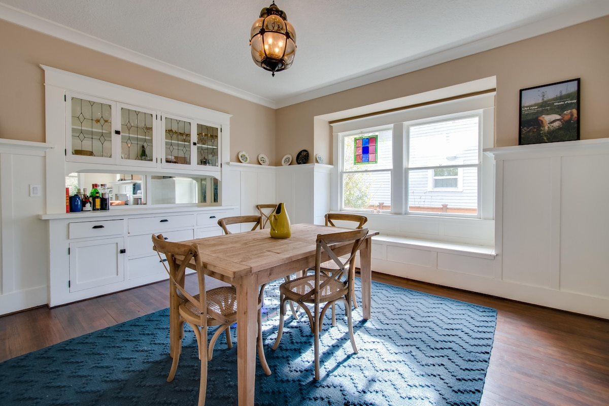 Dining room table can be extended to accomodate up to 8 people.