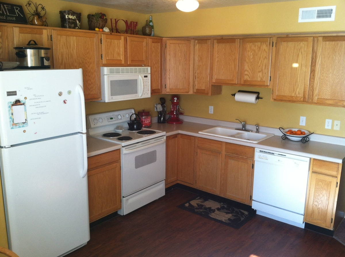 Kitchen, we will give you a tour so you know where all of the appliances and snacks are! :)