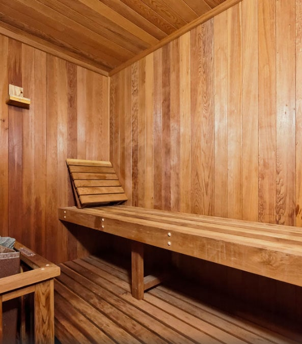 Soothe sore muscles in your private sauna.