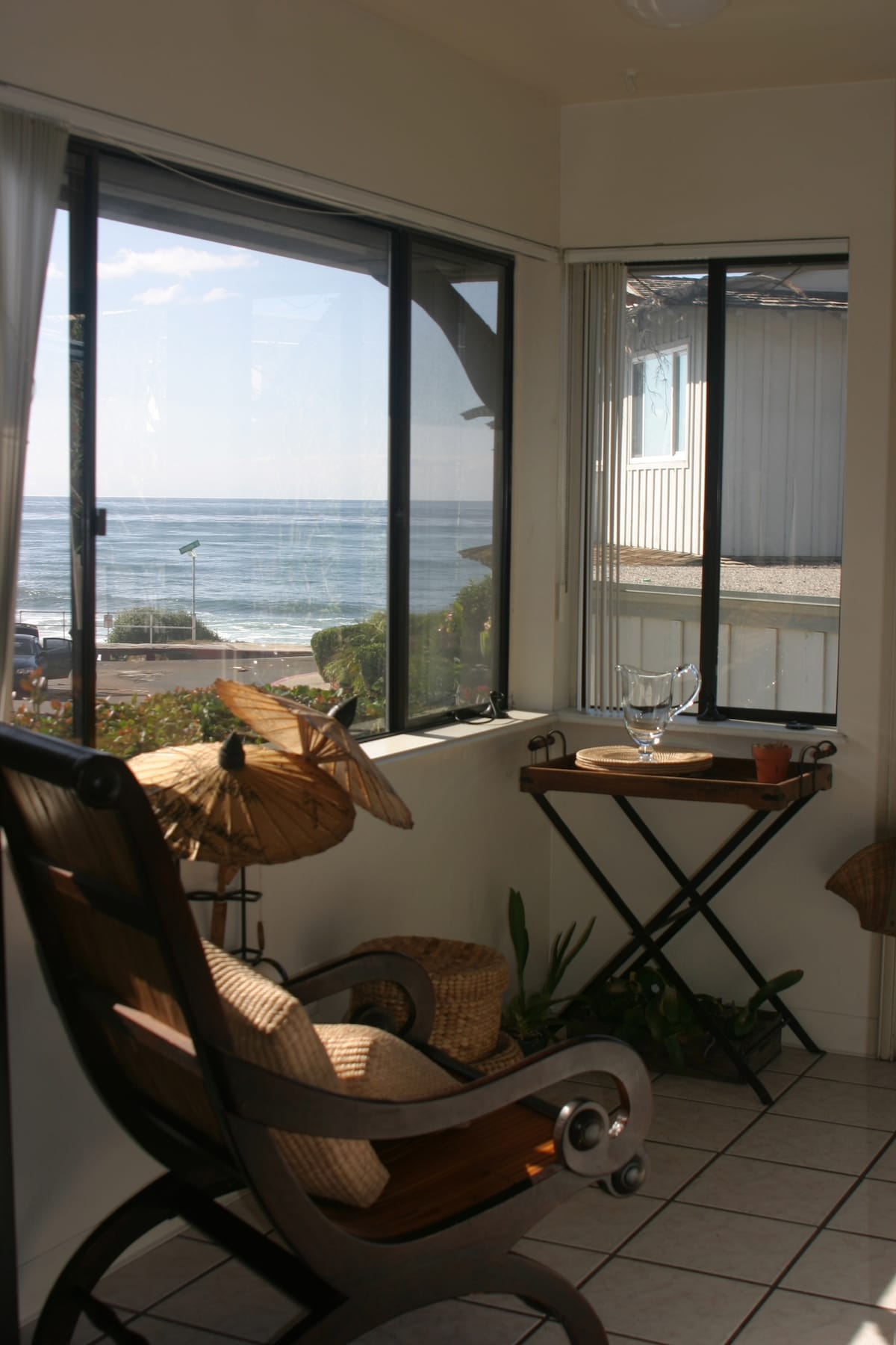 This is an old picture of the decor, but it shows the ocean view from the kitchen and living room