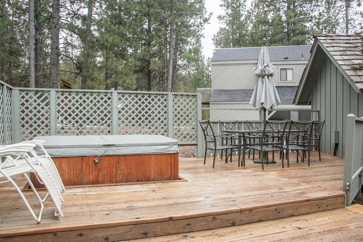 Hot Tub and 6 person patio table.