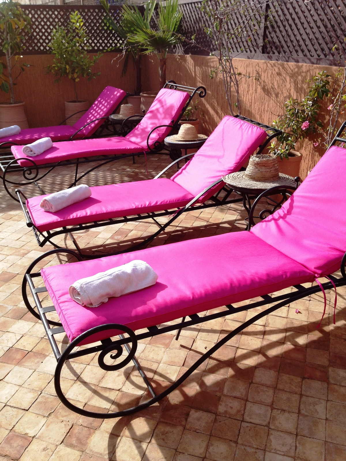 sun loungers on our roof top terrace