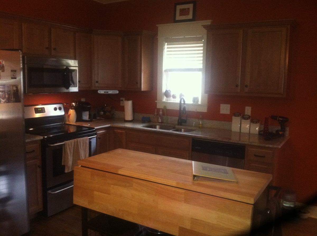 Kitchen with access to Keurig coffee maker, fridge, microwave, stove/oven