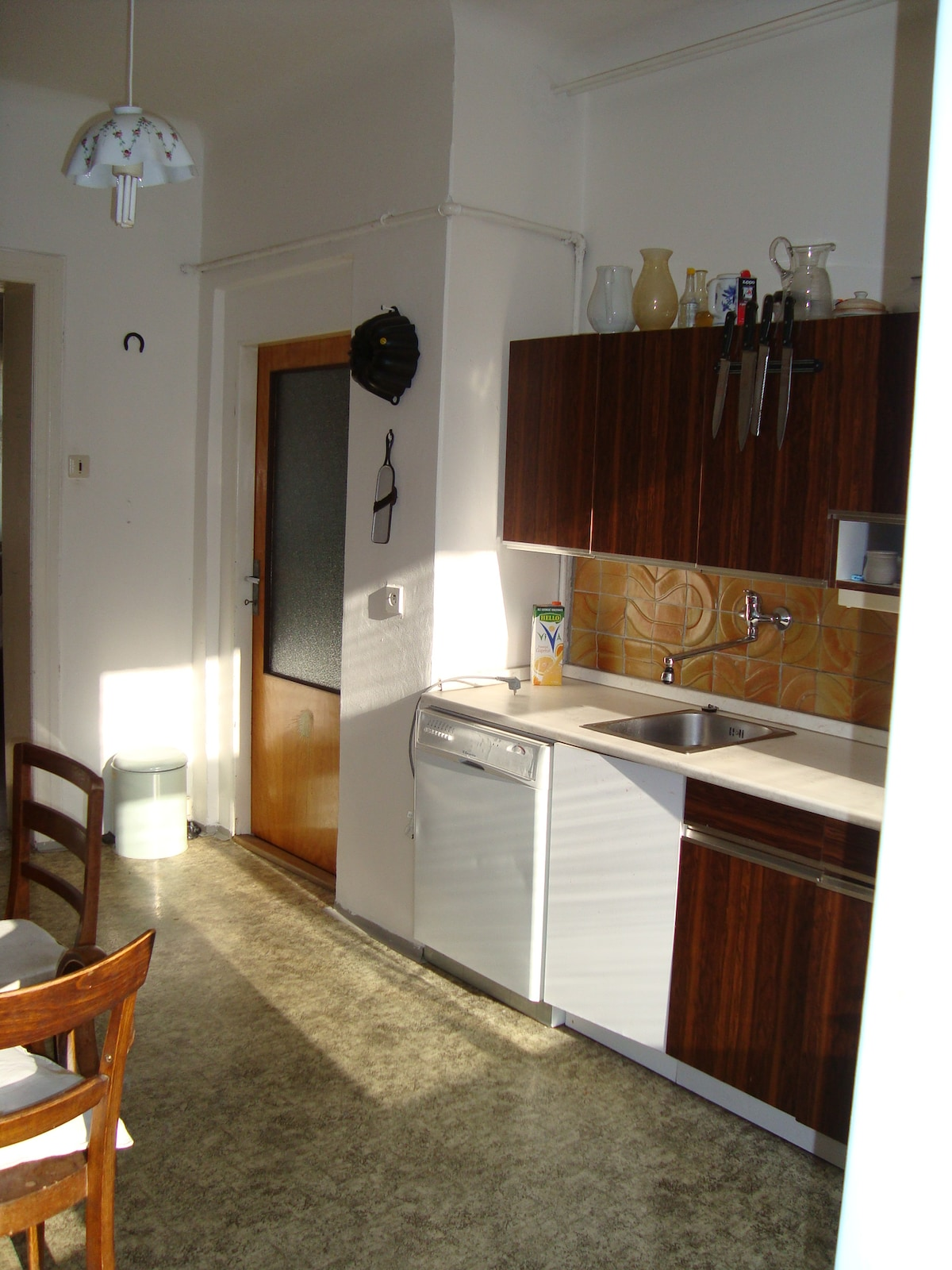 The flat has a large kitchen.