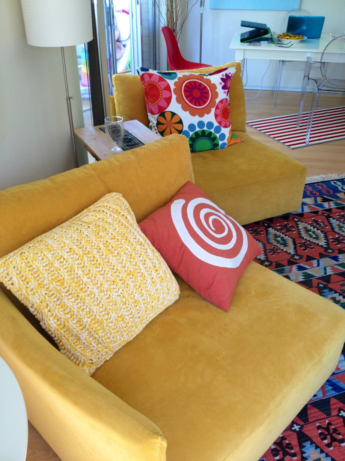 mango colored sofas - lots of color in this living space