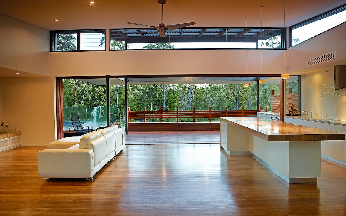 The view towards the front of the living area with the alfresco deck and spa