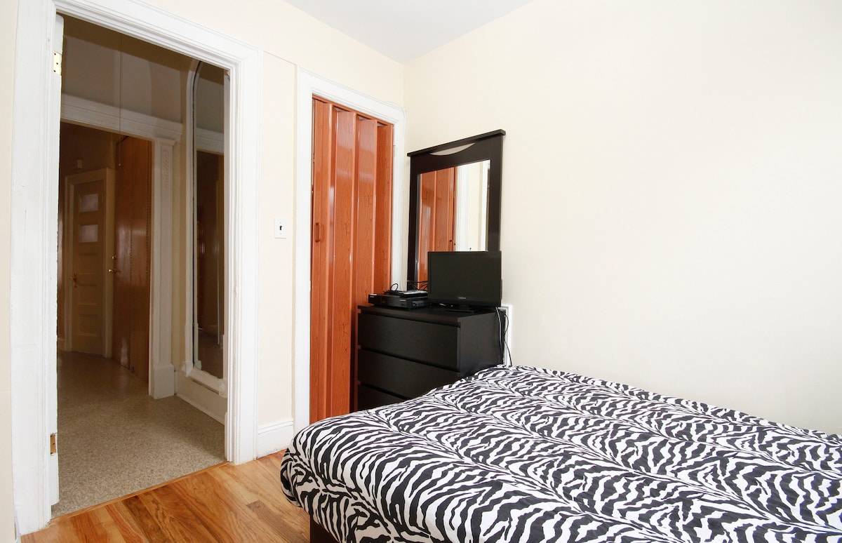 Compact Room - Full size bed, Night stand lamp, Dresser/Mirror, Closet, Desk/Chair, A/C, Cable/TV & Wireless Internet, Room Door W/Lock