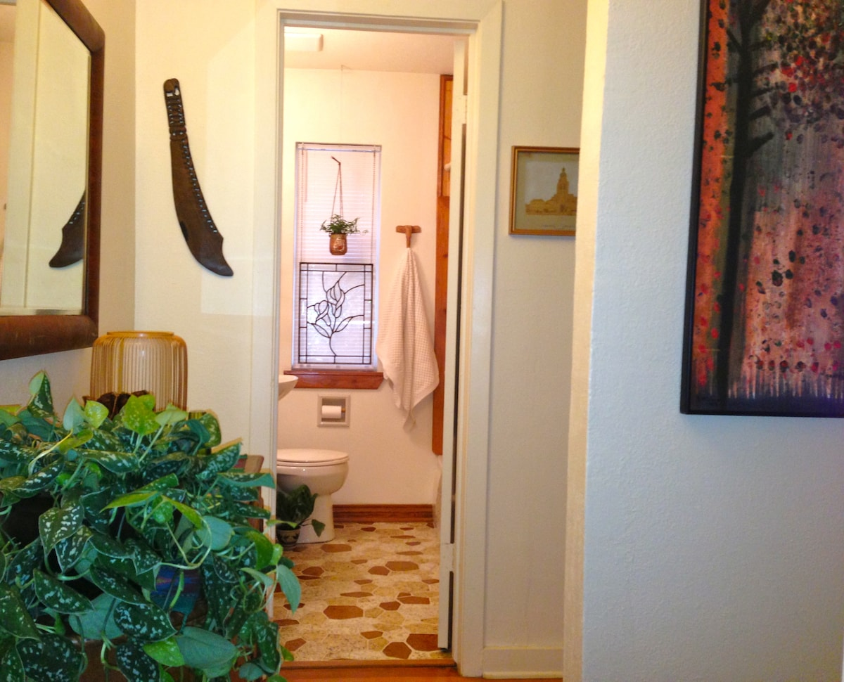 The shared bath, which is right across the hall, is newly remodeled, kept sparkling clean for your comfort and peace of mind, and stocked with lots of clean towels. There's complimentary body wash and shampoo also.