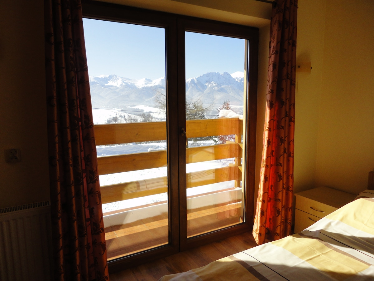 Sunny room with mountain view