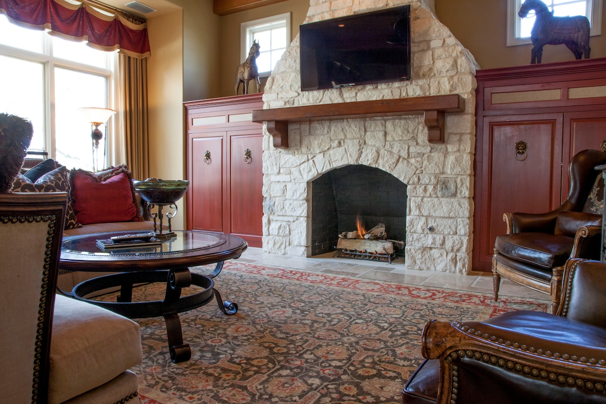 The Family Room Fireplace and Television