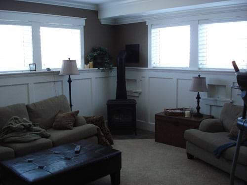 Shared living space with fireplace and tv