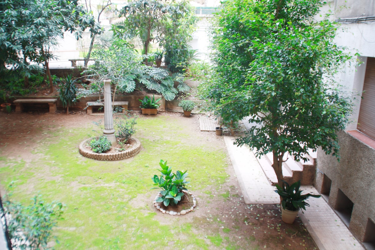 View from the living room - a wonderful garden in this shared communal area
