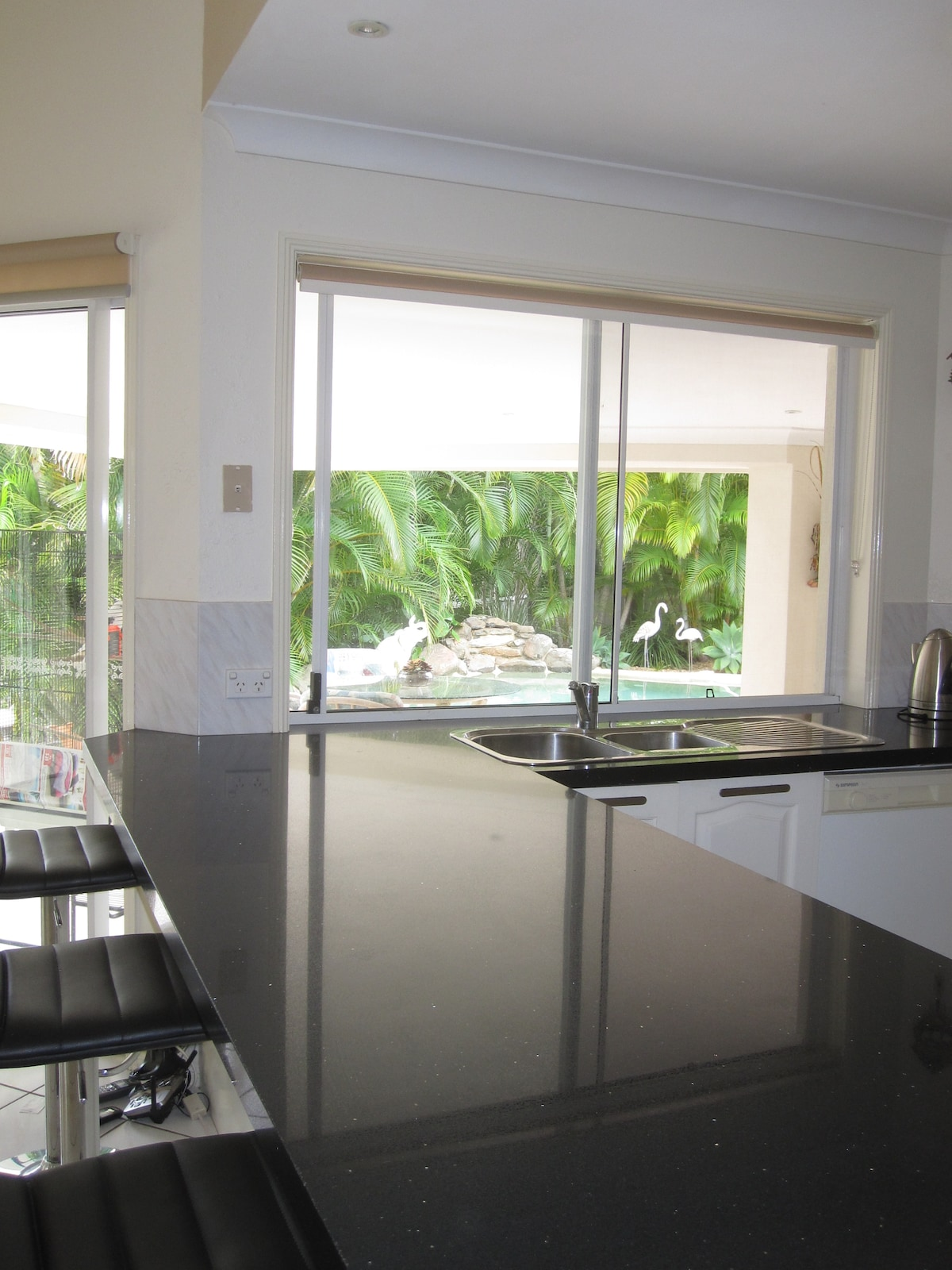 Prepare breakfast in the kitchen over looking the pool.