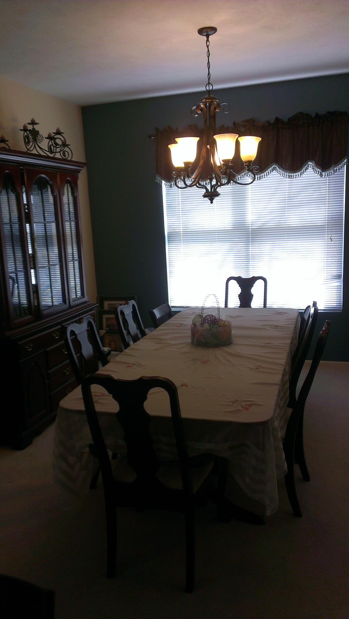 Formal Dining room table with seating for 8.