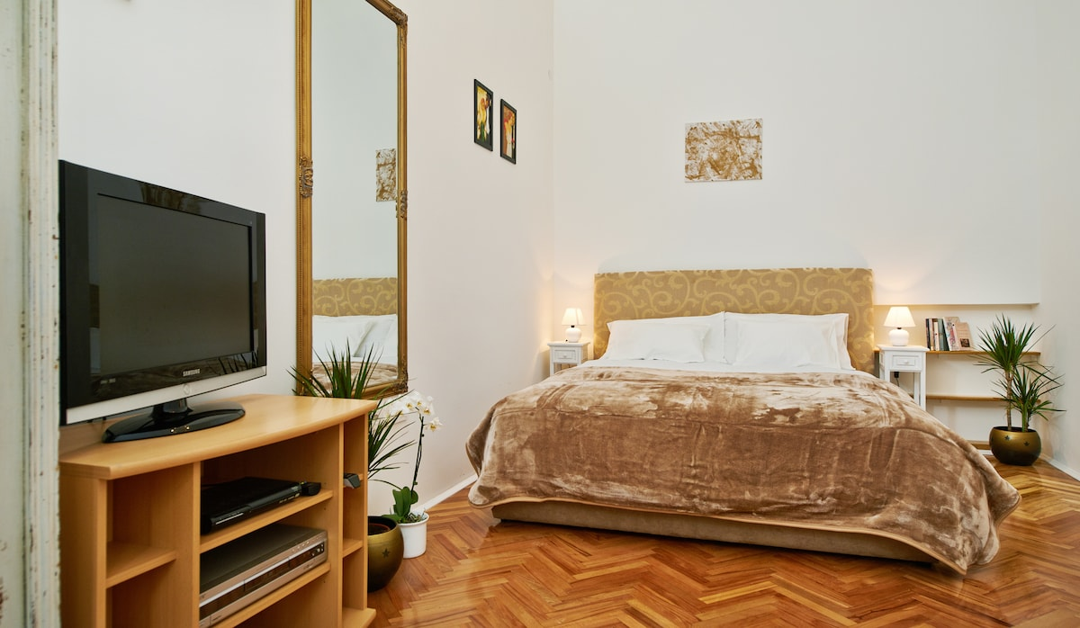 Large Room with Antique Shabby Chic Wardrobe purchased in Varazdin area and chandelier -sofa is extendable in addition to double bed