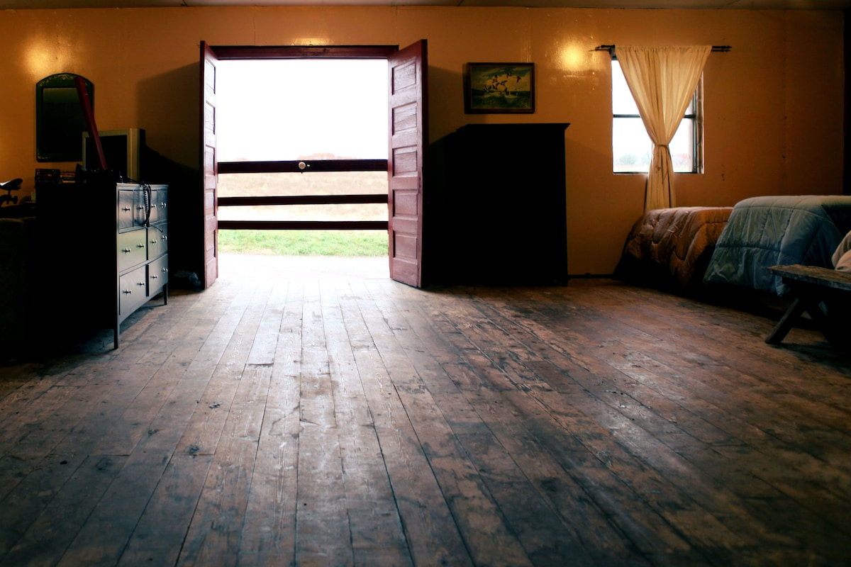 The view out the double doors of the loft space.  These can be left open or closed according to guest preference.