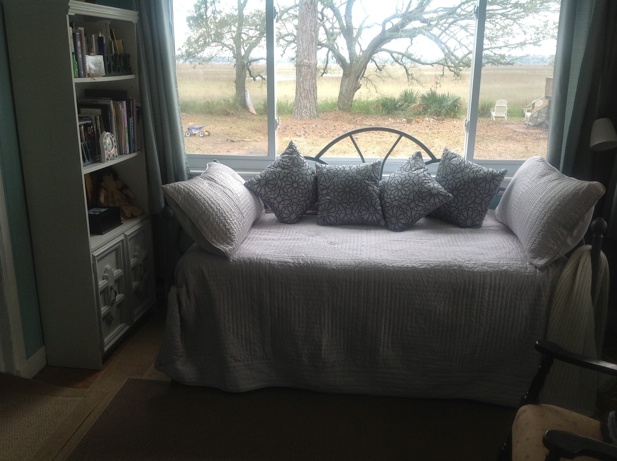 The extra daybed in the tv room beside the main bedroom.