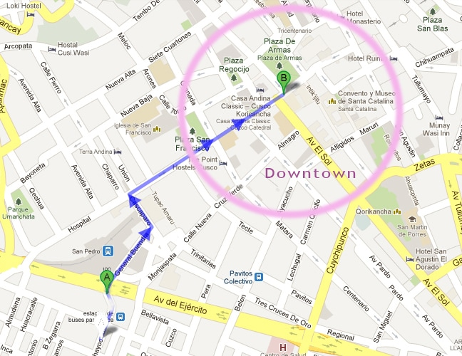 Point A: Apartment, Point B: Plaza de armas (main square), Circled area: Downtown.