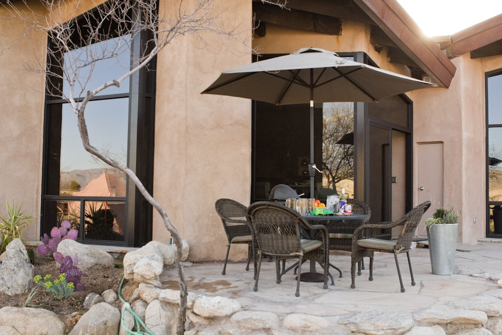 Outside sitting area with views of the Catalina Mountains