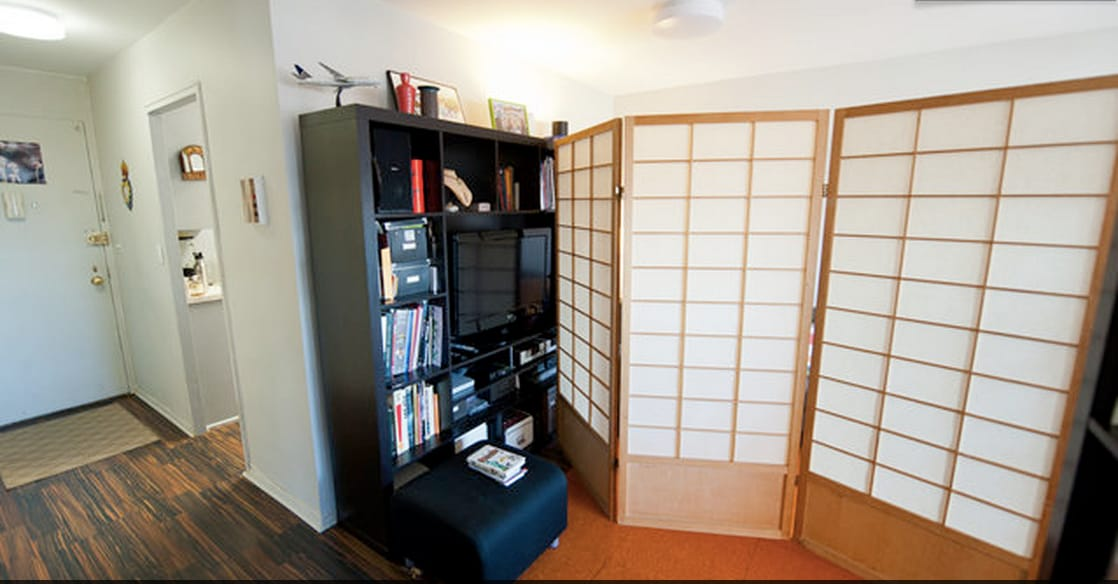 To use while you sleep, for more privacy during your stay, folding Shoji room divider is awesome!