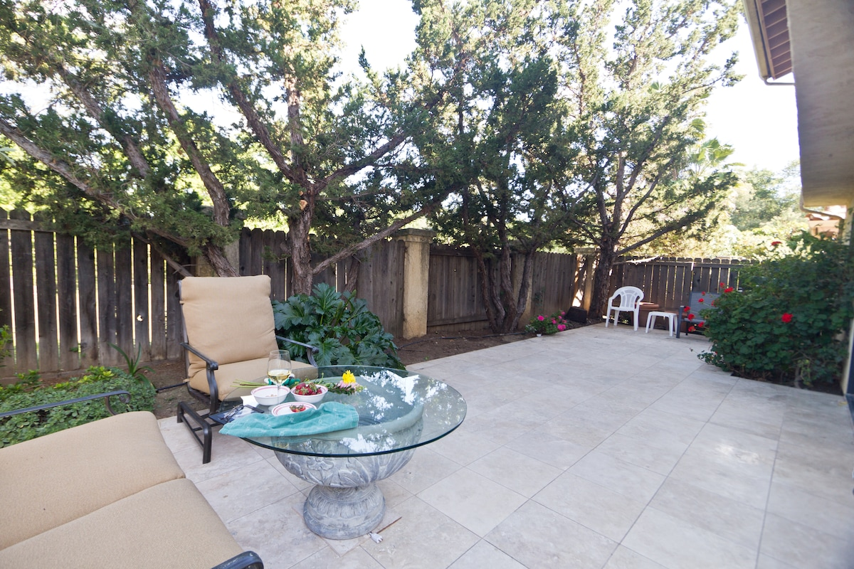Limestone patio with plenty of shade in summer and room for outdoor dining.  Libbey Bowl outdoor concerts a block away behind fence.  Dine in to live music.