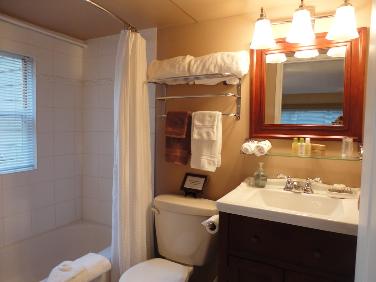 Bath has full size tub/shower and quality essentials.