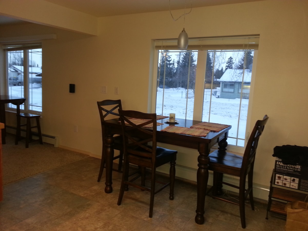 Further seating area in kitchen.  Also has a leaf and can seat 7