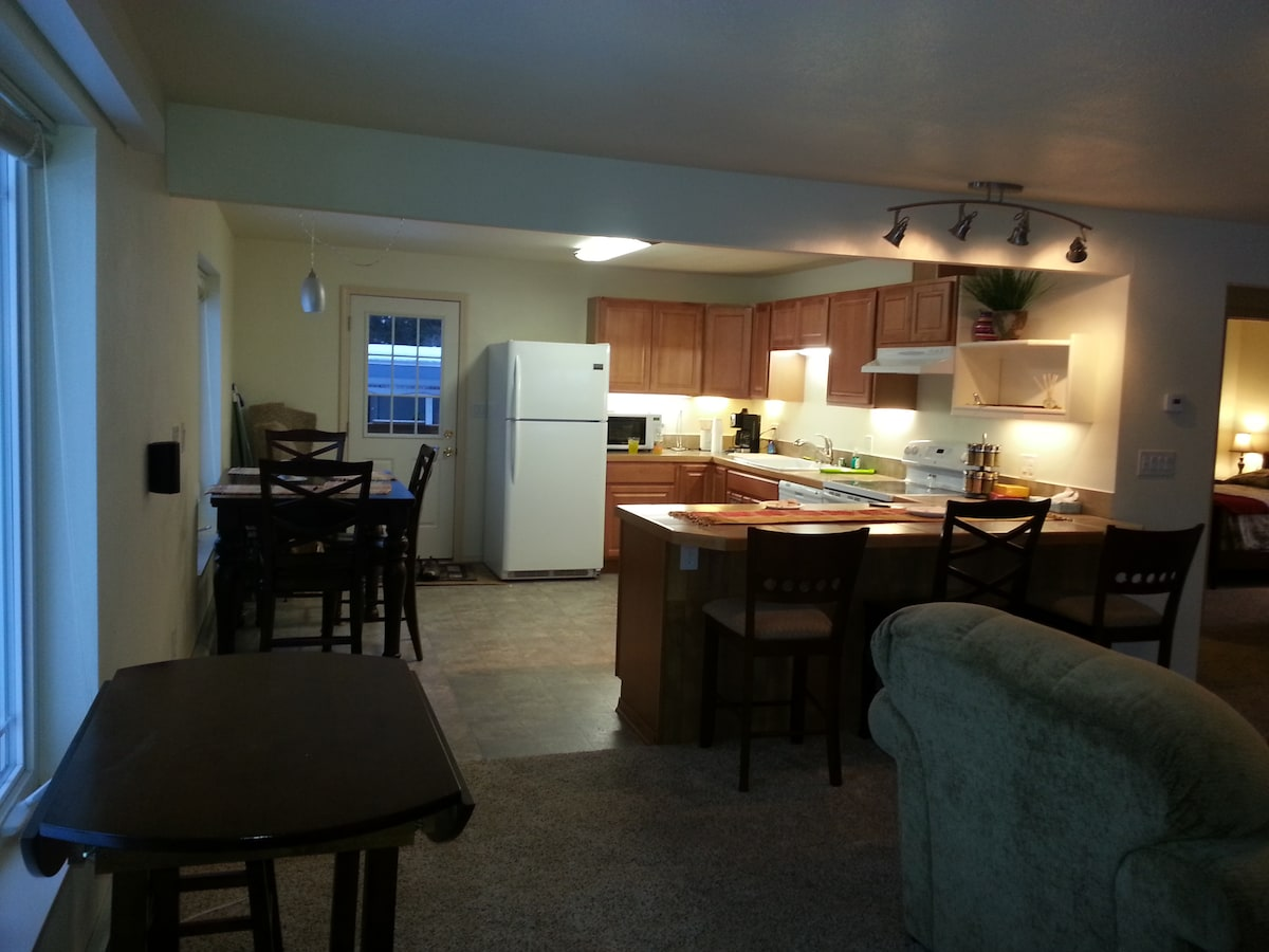 One view of the kitchen/breakfast bar