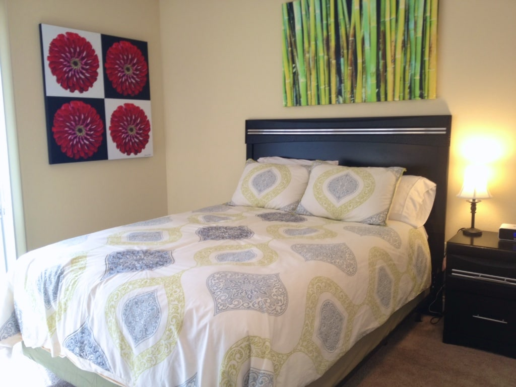 Comfortable Queen Size bed-- also available in each condo is a queen-size blow-up mattress.