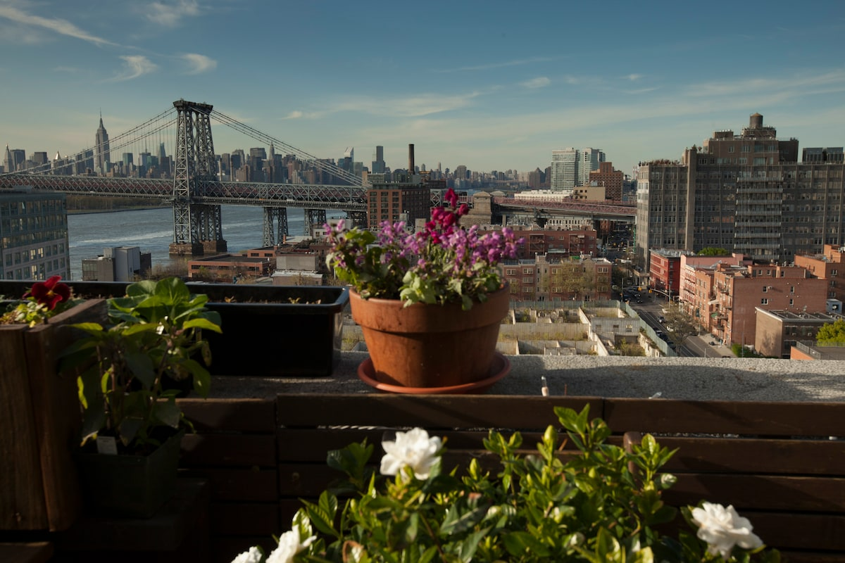 View of Williamsburg Bridge and Midtown Manhattan