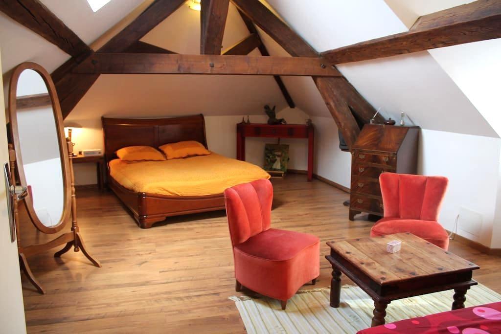 chambre 2-4 personnes sous combles - Triel-sur-Seine - 家庭式旅館