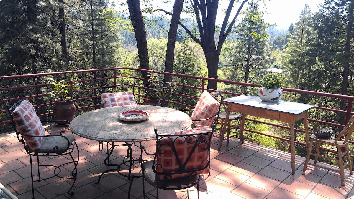 Our back deck- perfect for breakfast and evening cocktails