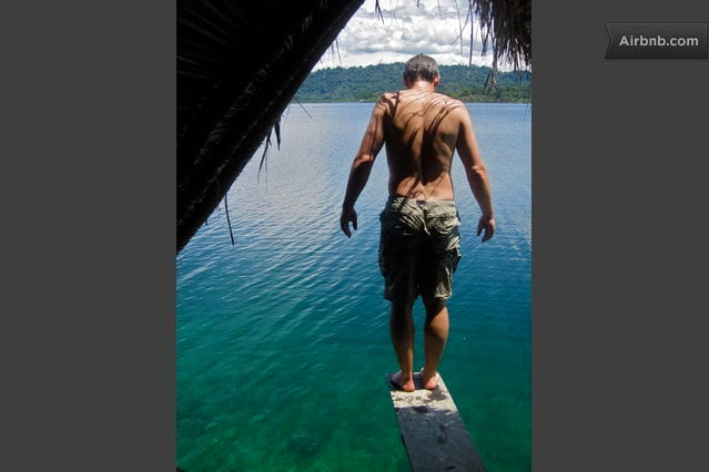 Jumping off the diving boatd, right from the Magical Reef Cabin.