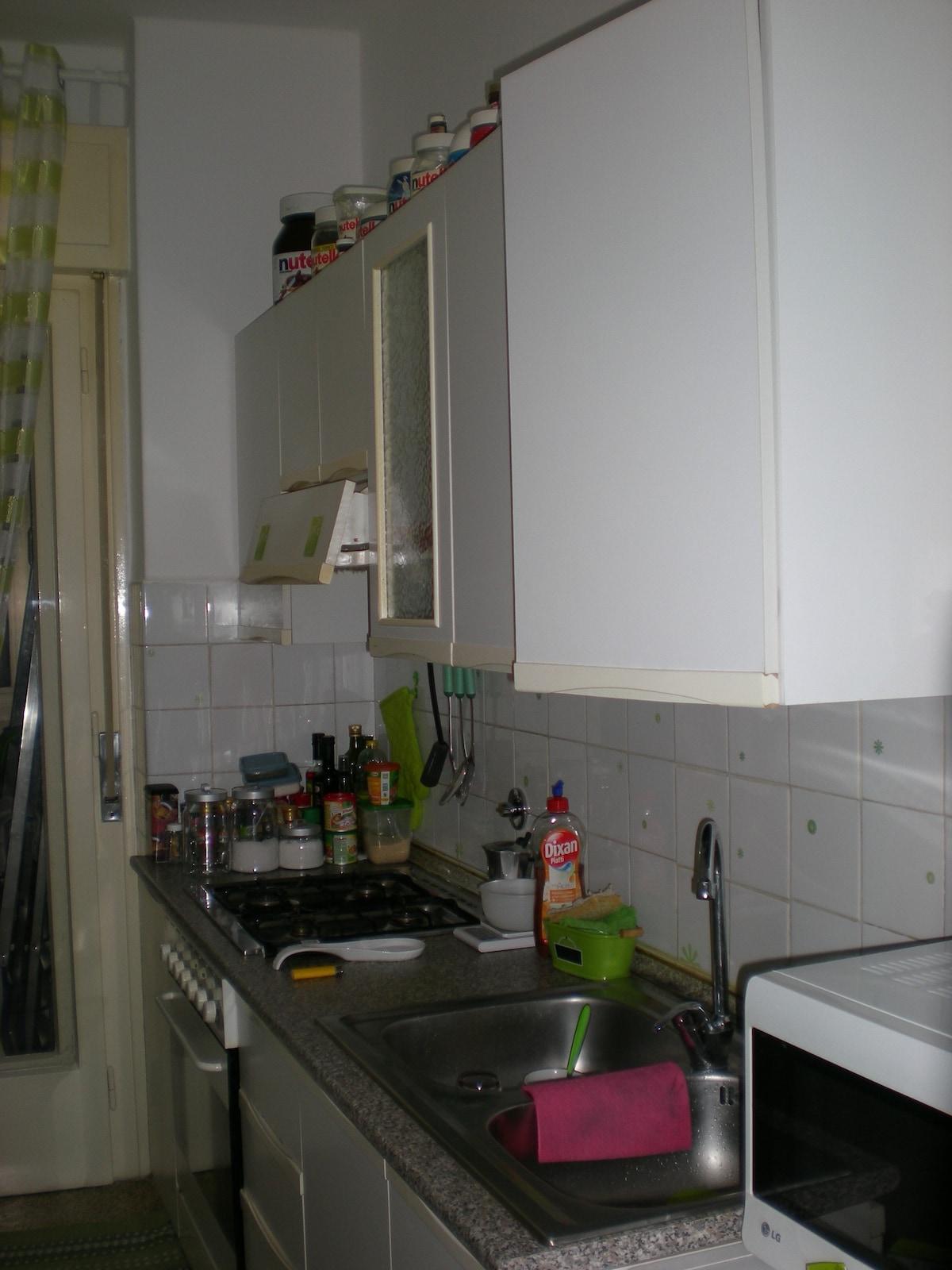 il piano cottura e il lavandino