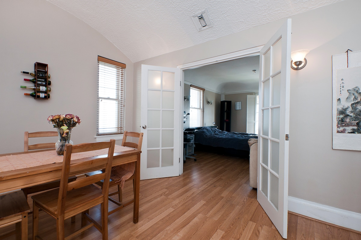 French door entrance from the dining room to your spacious bedroom.