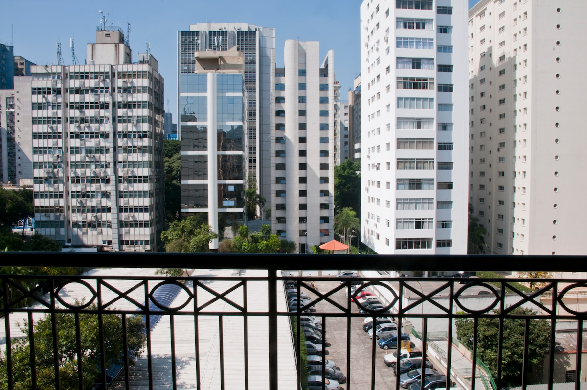 View from balcony, looking straight out from living area.  If close glass sound-proof panels, will create silent cozy environment inside apartment.