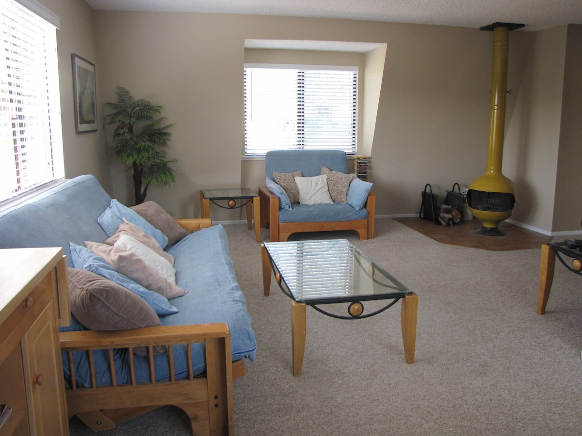 Spacious living area with futons, entertainment system and woodburning fireplace.