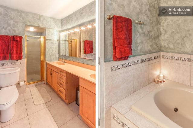 Master Bath with seperate shower. The bathrooms are refinished and not remodeled.