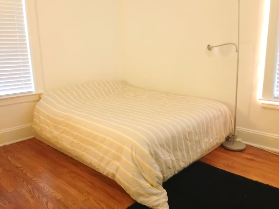 The bedroom, queen bed, with a brand new, strong AC and the TV and cable, two dressers