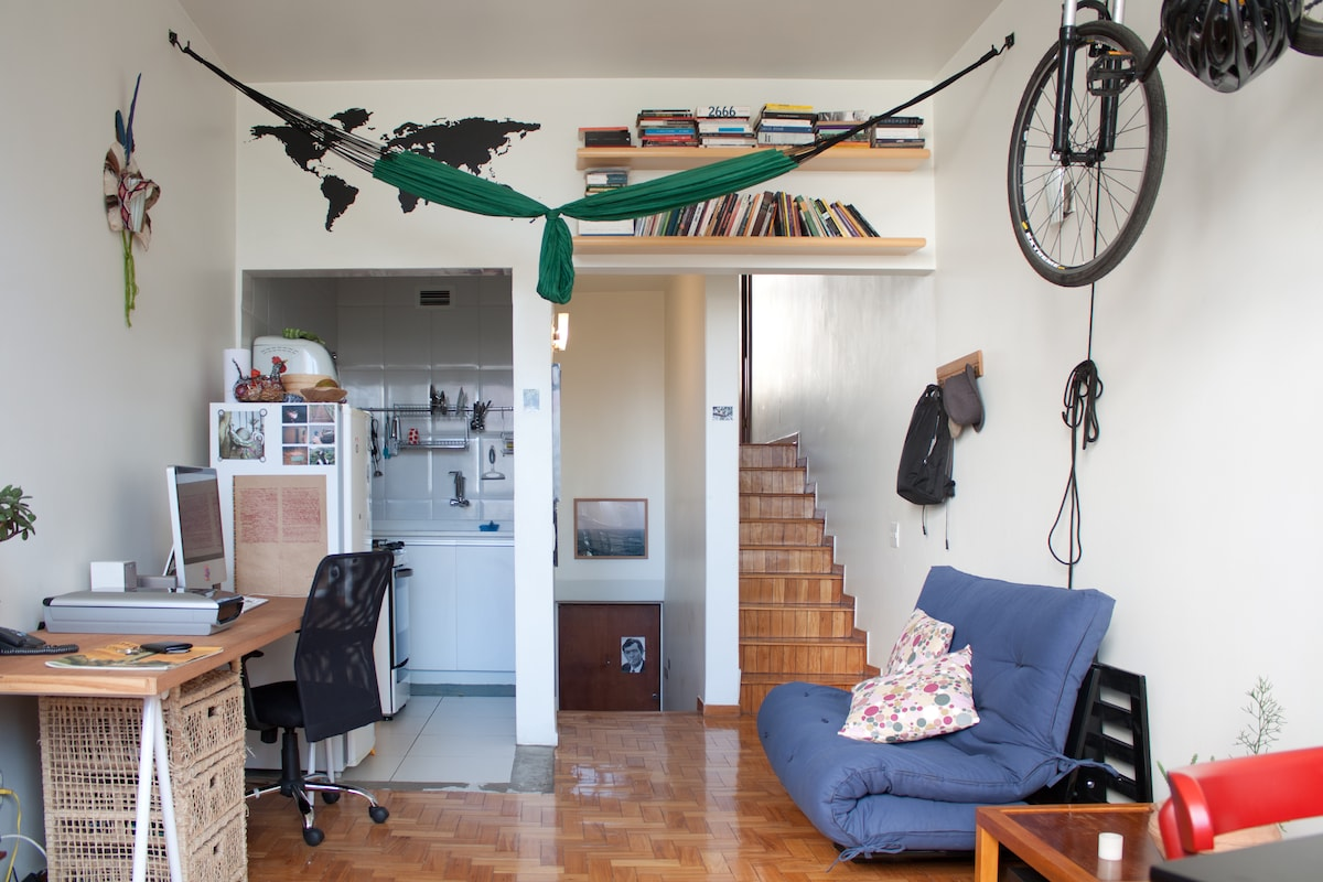 living room with sofa-bed - my bike is not included ; )