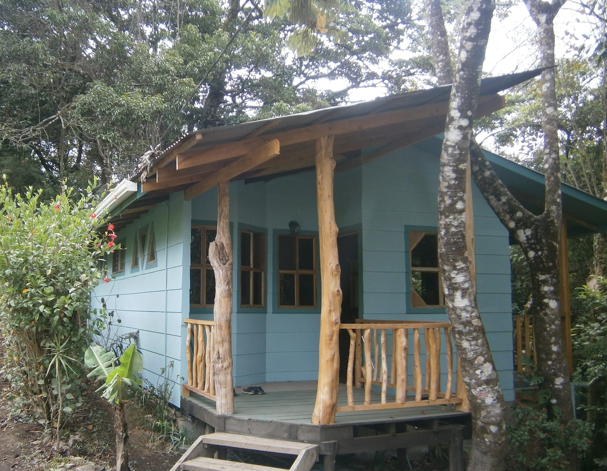 La Posada del Perezoso sits nestled against the forest along the creek.
