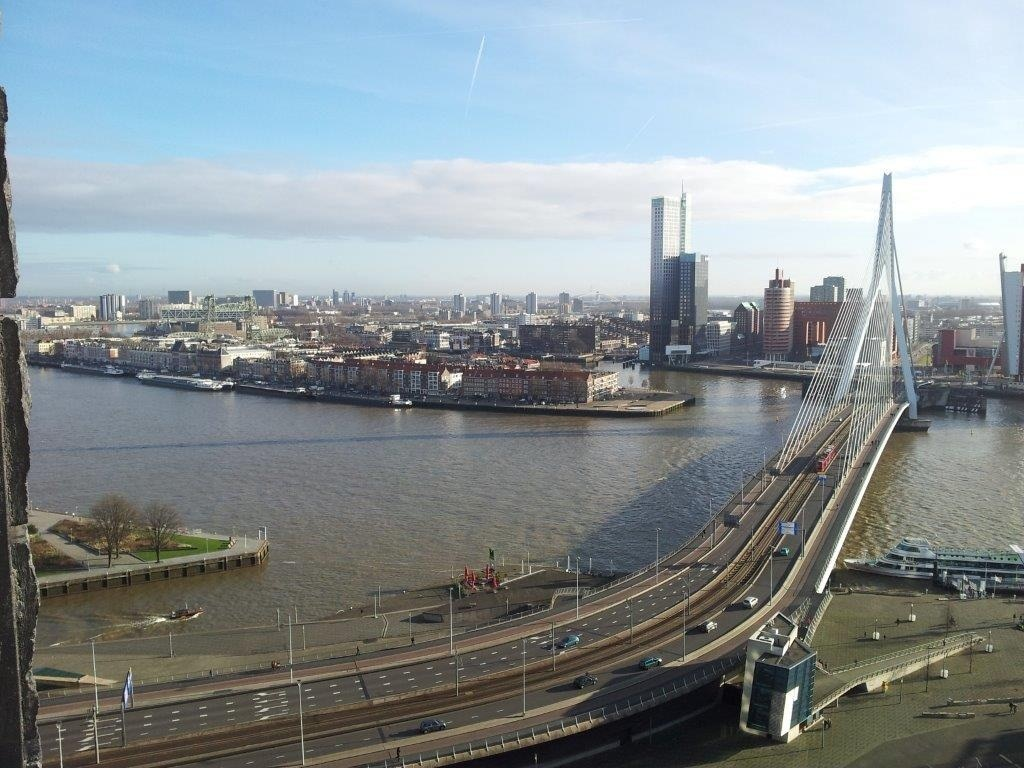 View from the apartment on the Erasmus bridge
