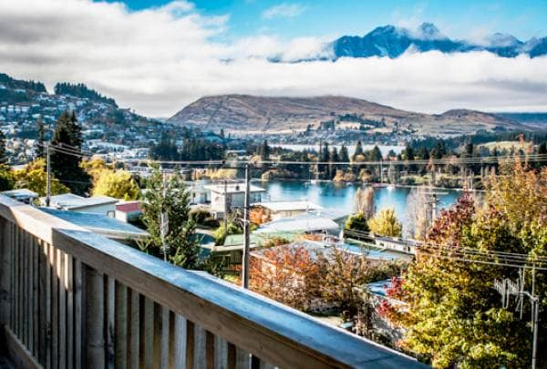 View from the Balcony of Queenstown Central, Queenstown Hill and the famous Remarkables mountains