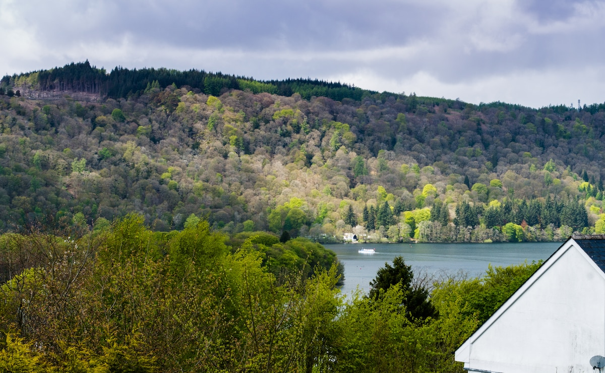 Blenheim Lodge is situated atop a fell so The Attic looks down over other buildings at lower elevation. Here is another view of Lake Windermere where you can see one of the passenger ferries cruising the waters. Why not enjoy a cruise yourselves??