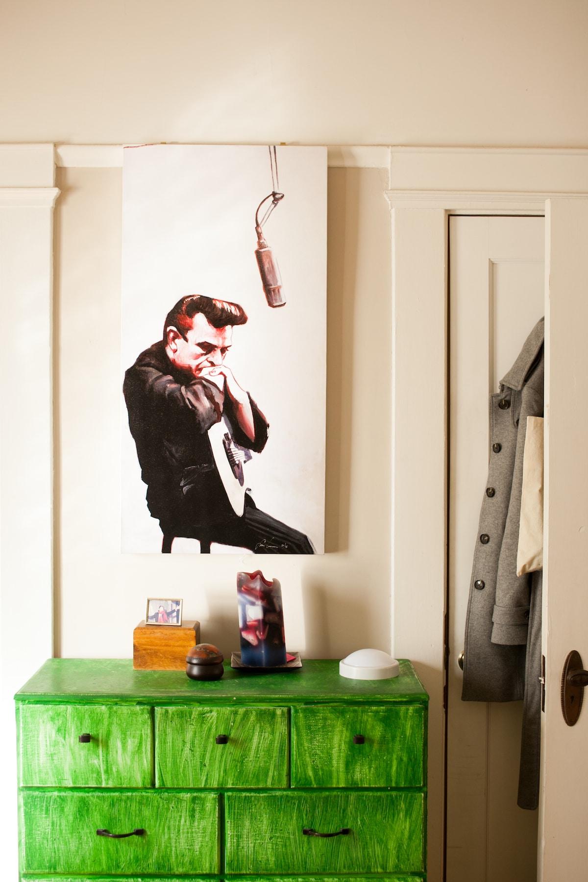 Guest room closet and dresser.