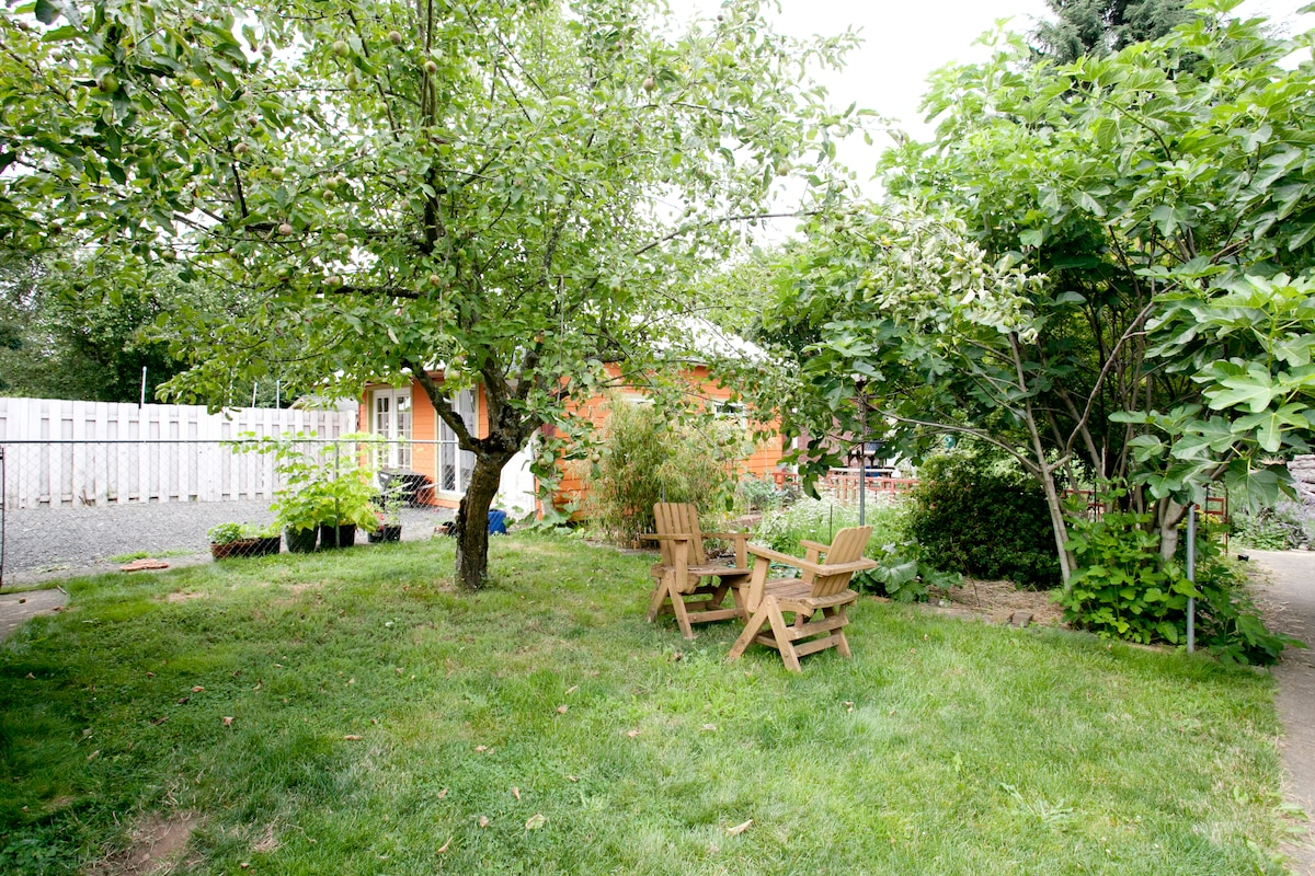 Park-Like Setting in Backyard. Mature Trees, Raised Vegetable Beds, Clay Studio
