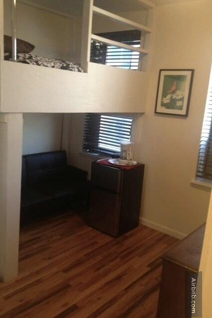 Loft style bed + bonus futon + private fridge