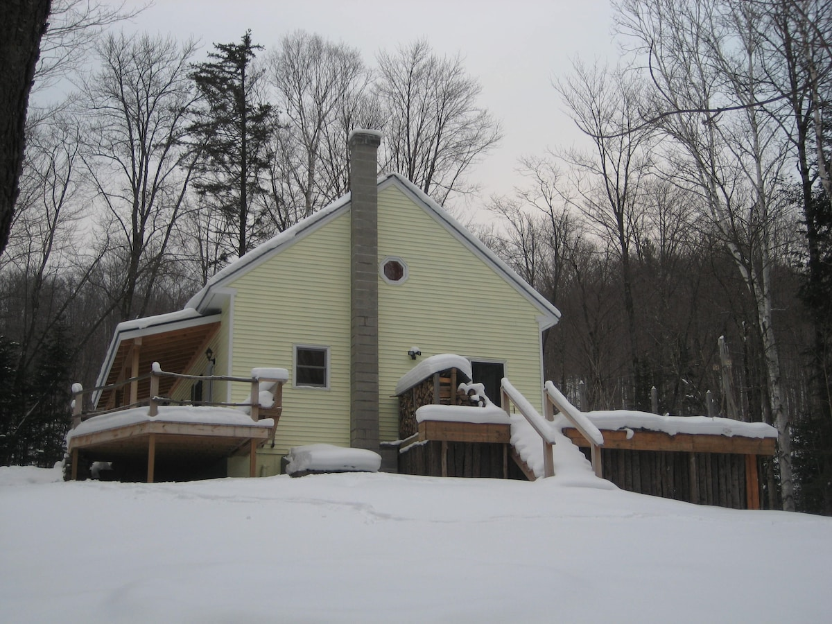 Snowy Autumn...back view of house down sledding paths to creek and waterfall!