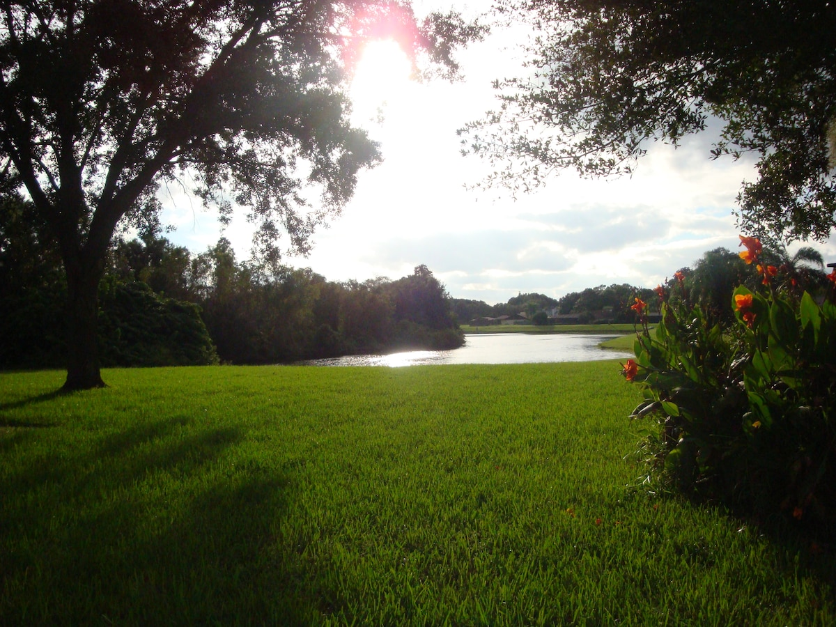Enjoy a park-like setting with our beautiful yard and lake