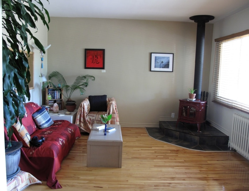 The livingroom, with the wood burning stove